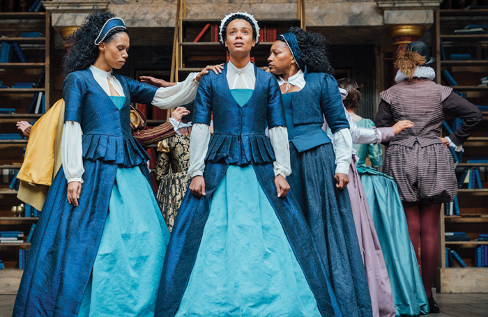 The cast of Emilia performing at Shakespeare's Globe. Photo: Helen Murray