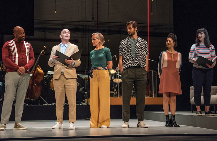 David Ryan Smith, Taylor Mac, Susan Blackwell, John Behlmann, Deborah  S Craig and Aysan Celik in Gone Missing at City Center, created by the Civilians with music and lyrics by Michael Friedman. Photo: Stephanie Berger.