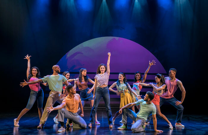 Christie Prades and the company in On Your Feet!, choreographed by Sergio Trujillo, at London Coliseum. Photo: Johan Persson