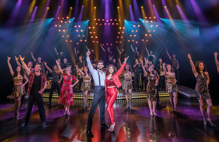George Ioannides, Christie Prades and the company in On Your Feet! at London Coliseum. Photo: Johan Persson