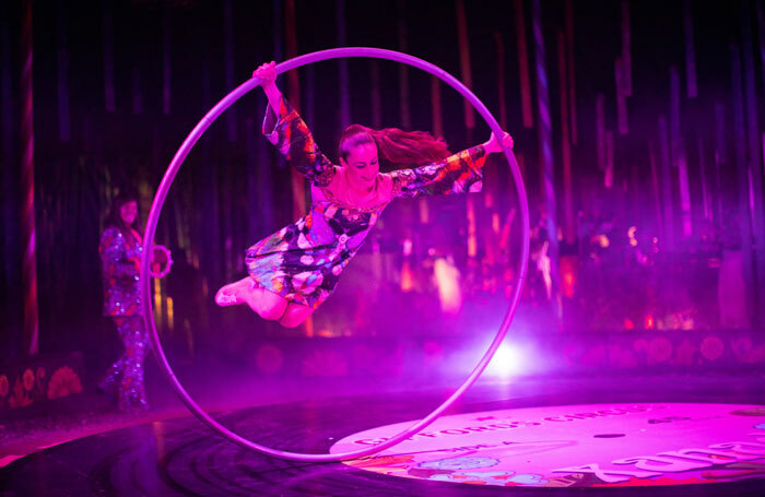 Lil Rice in Giffords Circus: Xanadu at Chiswick House and Gardens. Photo: Gem Hall