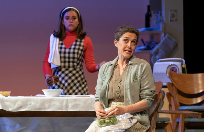 Georgia May Foote and Madeleine Worrall in Napoli, Brooklyn at Park Theatre, London. Photo: Marc Brenner