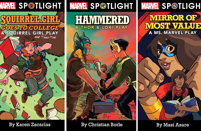 Book covers for the Marvel plays: Squirrel Girl, Hammered and Mirror of Most Value