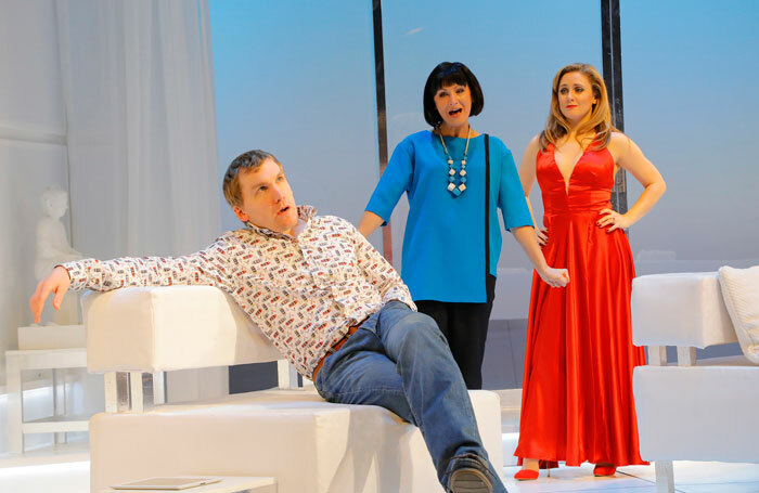 Ali Watt, Claire Dargo and Barbara Hockaday in Blithe Spirit at Pitlochry Festival Theatre. Photo: Douglas McBride