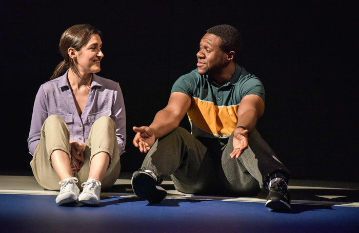 Phoebe Pryce and Jonathan Livingstone in Cash Cow at Hampstead Theatre, London. Photo: Robert Day