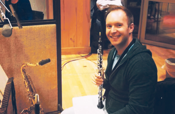 Mike Davis at a recording session for the Gypsy cast album