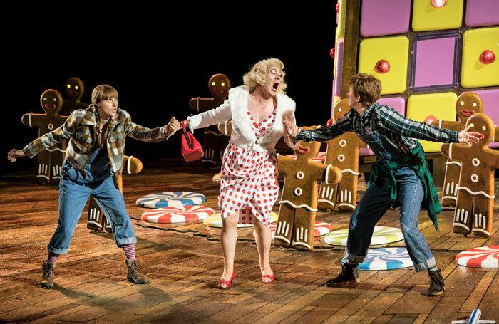 Susanna Hurrell, Alasdair Elliott and Rachel Kelly in Hansel and Gretel at open Air Theatre, London. Photo: Johan Persson
