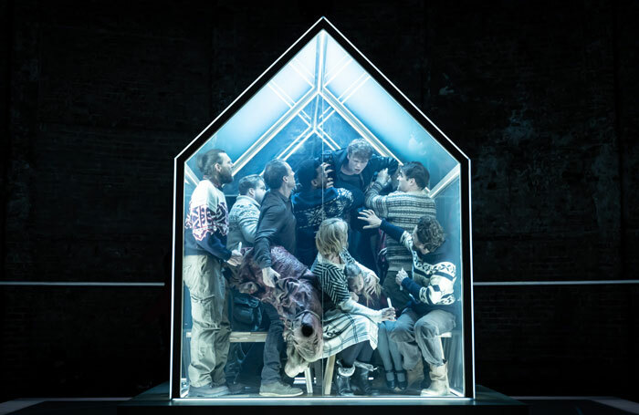 The cast of The Hunt at Almeida Theatre, London. Photo: Marc Brenner