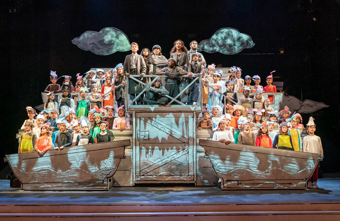 The cast of Noye's Fludd at Theatre Royal Stratford East. Photo: Marc Brenner