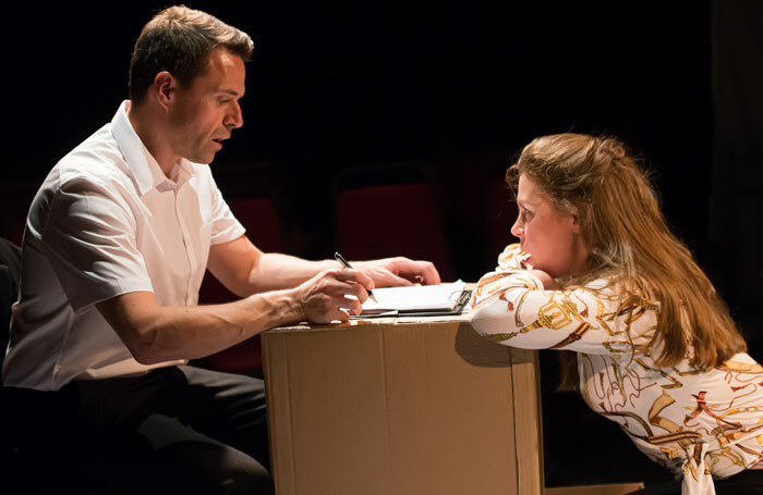 Suzy Whitefield and Jonathan McGarrity in The Censor at Hope Theatre, London. Photo: Lidia Crisafulli