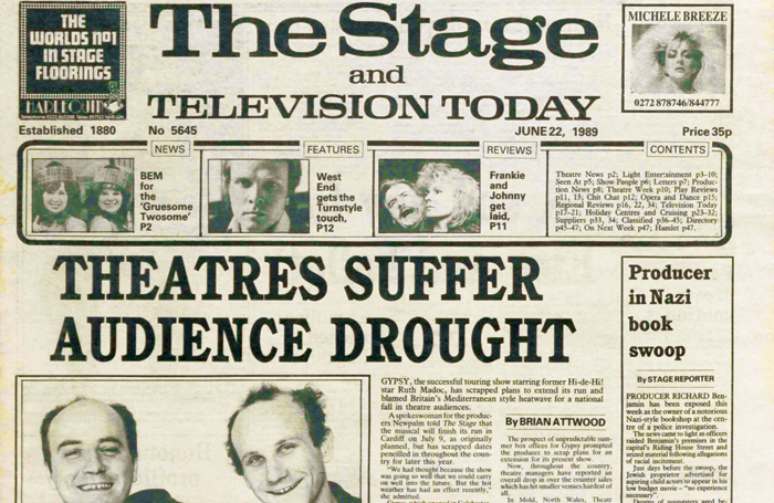 The front page of the June 22, 1989 issue of The Stage