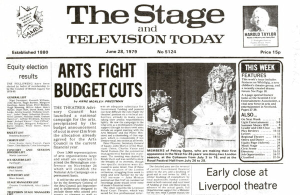 Margaret Thatcher wields the axe with £1m cuts to the arts – 40 years ago in The Stage