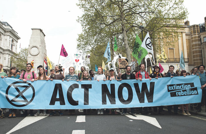 Extinction Rebellion climate change protest in Parliament Square, London, in April 2019.