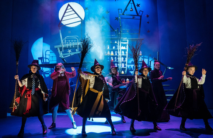 The cast of The Worst Witch at the Royal and Derngate, Northampton, in 2018. The show transfers to the West End this week. Photo: Manuel Harlan