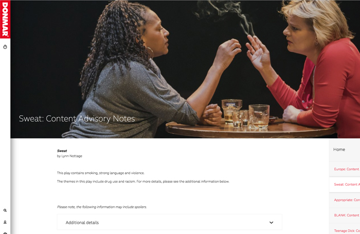 The Donmar's website includes content advisories to warn theatregoers of potentially distressing scenes in its productions