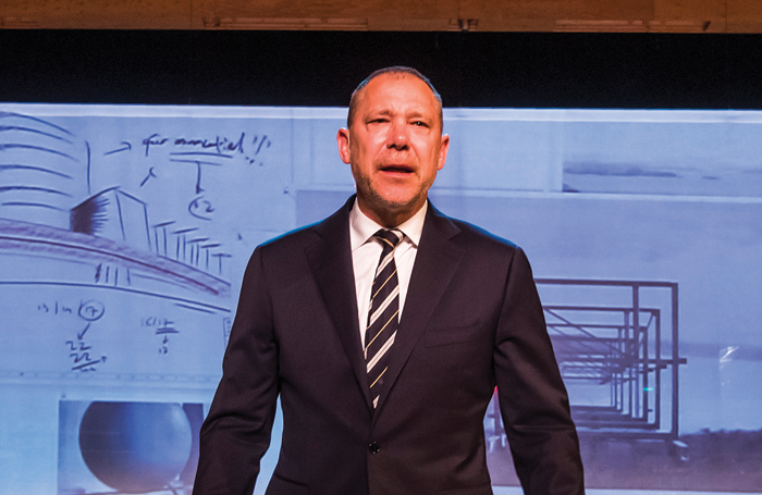 Hans Kesting in The Fountainhead at the Lowry in Salford. Photo: Tristram Kenton