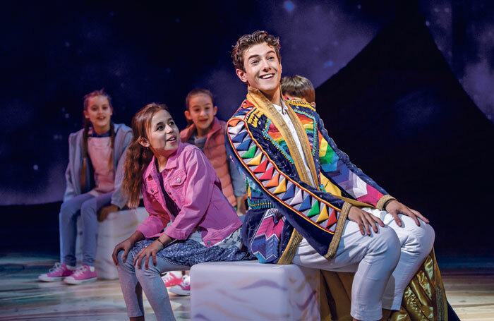 Jac Yarrow and the company of Joseph and the Amazing Technicolor Dreamcoat at London Palladium. Photo: Tristram Kenton