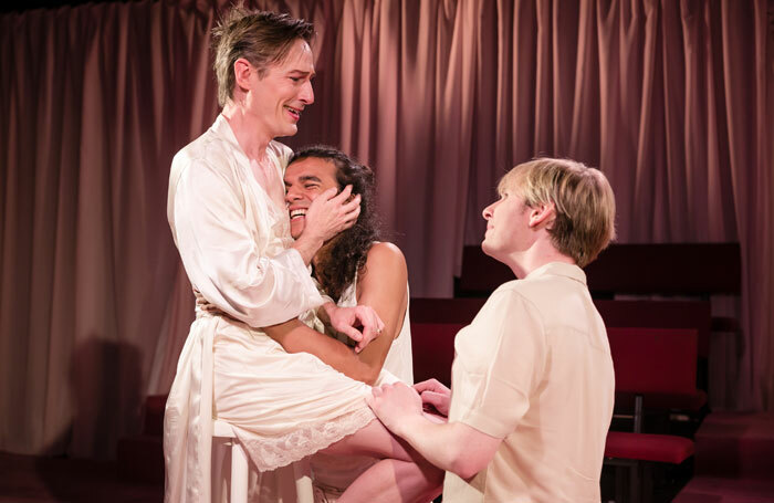 Luke Mullins, Ben Chinapen and Michael-Burrows in Southern Belles at King's Head Theatre, London. Photo: Scott Rylander