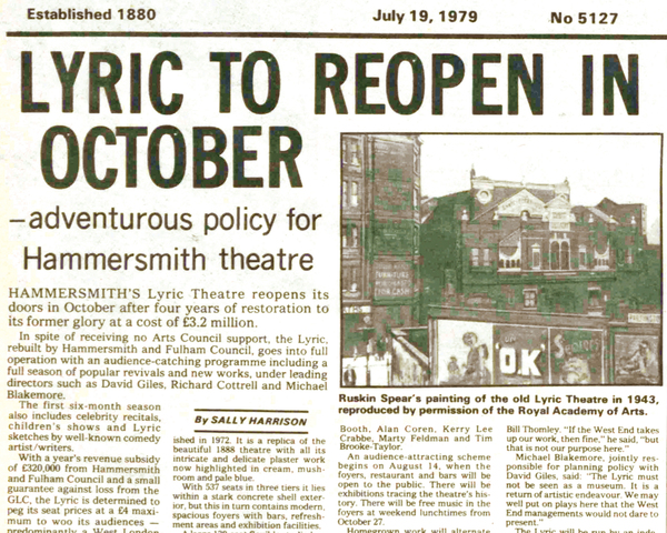 Lyric Theatre reborn – 40 years ago in The Stage