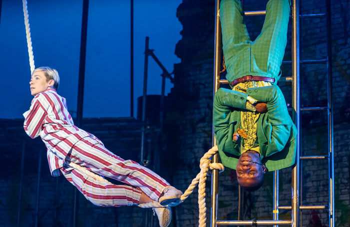 Daisy Maywood and John Pfumojena in Peter Pan at Troubadour Theatre, White City. Photo: Tristram Kenton