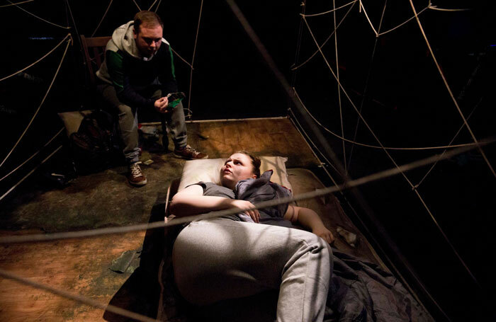 Michael Black and Alana Connaughton in Starved at Hope Theatre, London. Photo: lhphotoshots
