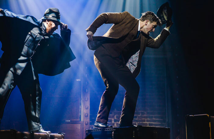 Jonathan Bourne and Max Hutchinson in The 39 Steps at Barn Theatre, Cirencester. Photo: Eve Dunlop