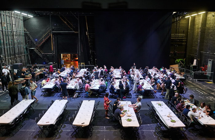 Artists and audiences eat together at BE Festival. Photo: Alex Brenner