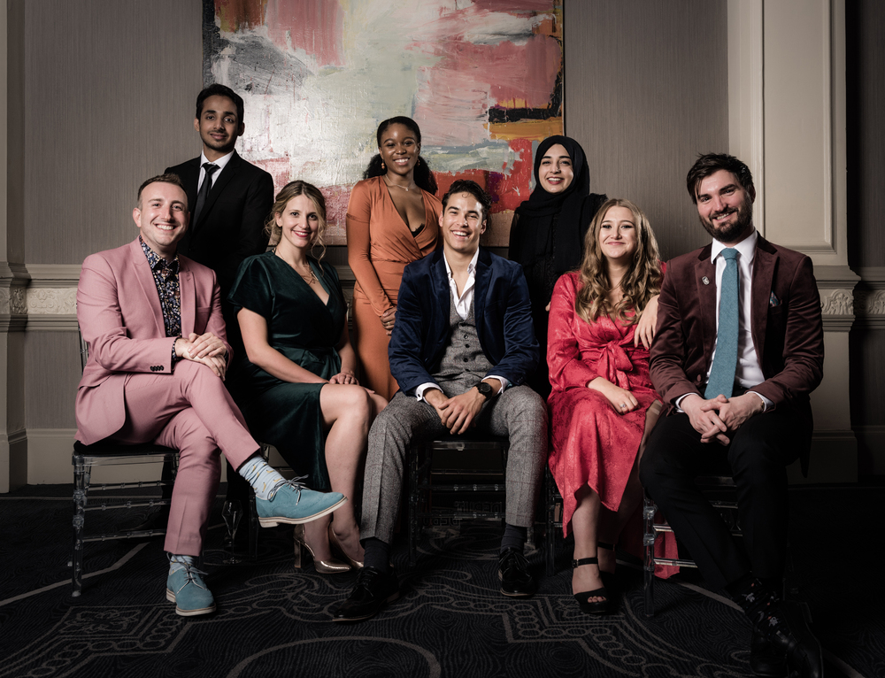 Last year's The Stage Debut Awards winners. Back row: Akshay Sharan (best actor in a play), Amara Okereke (best actress in a musical) and Khadija Raza (best designer). Front: Gus Gowland (best composer), Katy Rudd (best director), Louis Gaunt (best actor in a musical), Gemma Dobson (best actress in