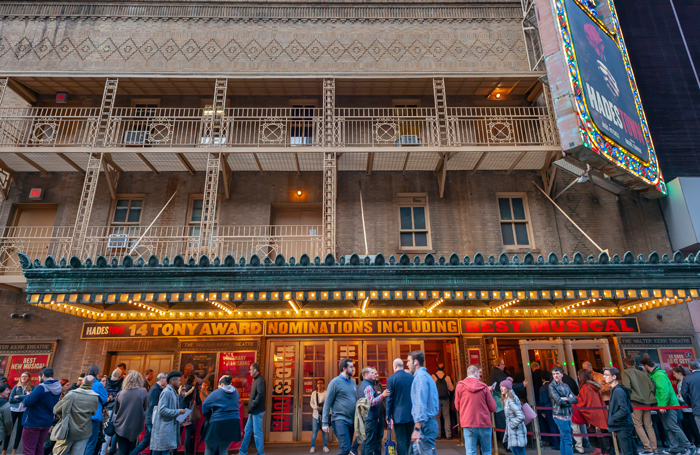 Walter Kerr Theatre on Broadway in New York where Hadestown performers gave an impromptu performance in the street during the blackout. Photo: Shutterstock