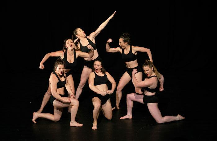 Karla Scott, Brooke Duckworth, Georgia Deguara, Hannah Richards, Georgia Webb, and Aleshanee Kelso in Yuck Circus at Underbelly Circus Hub, Edinburgh. Photo: Vicki Jones