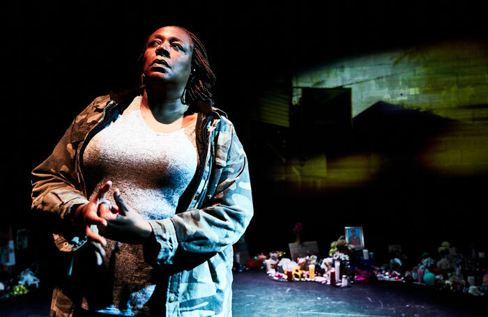 Dael Orlandersmith in Until the Flood at the Traverse Theatre, Edinburgh. Photo: Alex Brenner