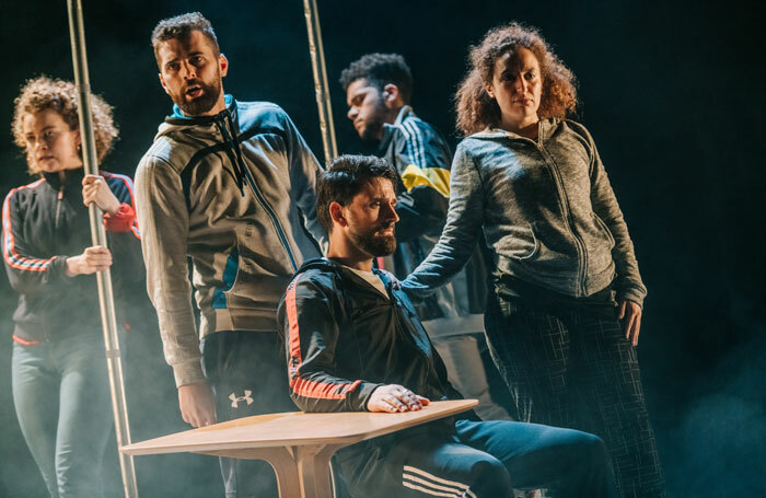 Ajjaz Awad, Esme Bayley, Daniel Cahill, Reuben Joseph and Dritan Kastrati in How Not to Drown. Photo: Mihaela Bodlovic