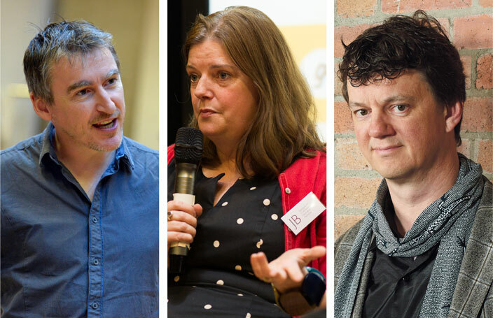 Leeds Playhouse artistic director James Brining (photo: Keith Pattison), Nottingham Playhouse chief executive Stephanie Sirr (photo: James Allan) and Tom Morris (photo: Geraint Lewis), artistic director of Bristol Old Vic, are among leaders from 13 of England's biggest theatres who are warning that