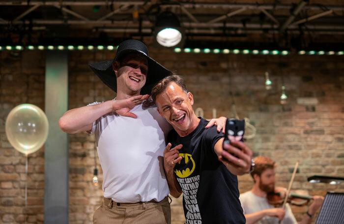 James McOran-Campbell and David Horton in Die Fledermaus at Arcola Theatre, London. Photo: Maxim Gamble