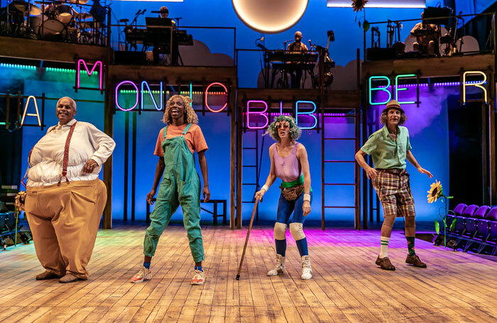 Gary Wilmot, Keziah Joseph, Kate Malyon and Ricard Cant in Mr Gum and the Dancing Bear at the National Theatre, London. Photo: The Other Richard