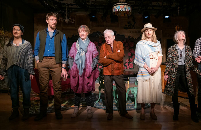 Kimberly Chatterjee, Michael Schantz, Stacey Linnartz, Austin Pendleton, Nadia Bowers and Barbara Kingsley in Life Sucks, running Off-Broadway. Photo: Russ Rowland