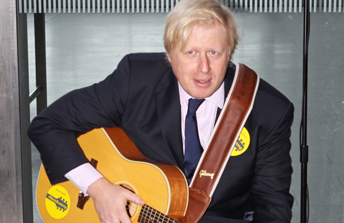Boris Johnson, launching the #BackBusking campaign, while he was Mayor of London in 2014. Photo: Kois Miah