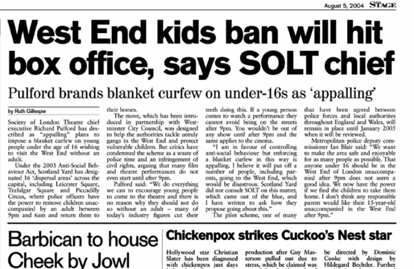 Banning kids from Theatreland – 15 years ago in The Stage