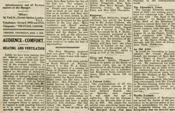 'West End theatres hot and uncomfortable' – 100 years ago in The Stage (plus ça change)