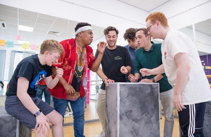 Rehearsal for the National Youth Theatre production of Luke Barnes' Lost Boys at the Unity Theatre, Liverpool. Photo: Jonathan Keenan