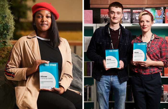 Winners of The Stage Edinburgh Awards: Alice Vilanculo (left) and Angus Taylor and Shauna Macdonald (right). Photos: Alex Brenner