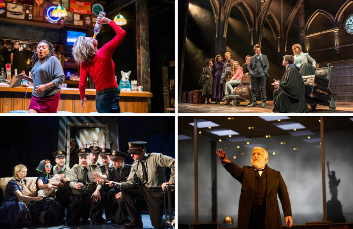Original plays staged in the West End at the time of The Stage's survey include, clockwise from top left: Sweat (photo: Tristram Kenton), Harry Potter and the Cursed Child (photo: Manuel Harlan), The Lehman Trilogy (photo: Mark Douet) and The Comedy About a Bank Robbery (photo: Tristram Kenton)
