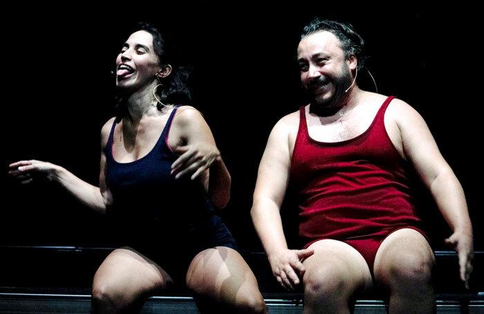Silvia Gallerano and Stefano Cenci in Happy Hour at Pleasance Dome, Edinburgh. Photo: Molly Bloom