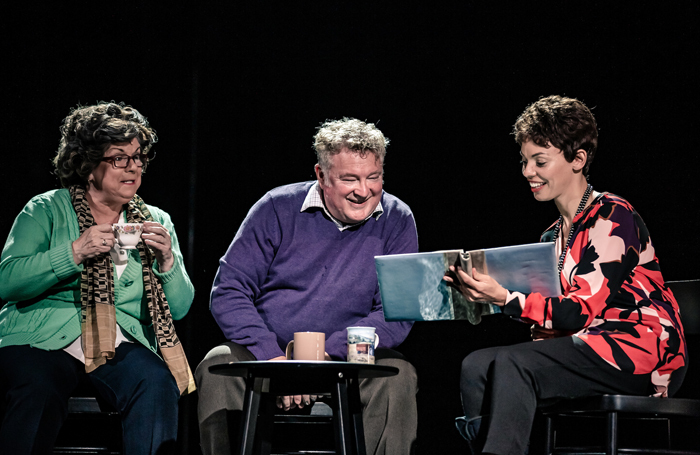 Elaine C Smith, Lewis Howden and Sasha Frost in Red Dust Road. Photo: Richard Davenport