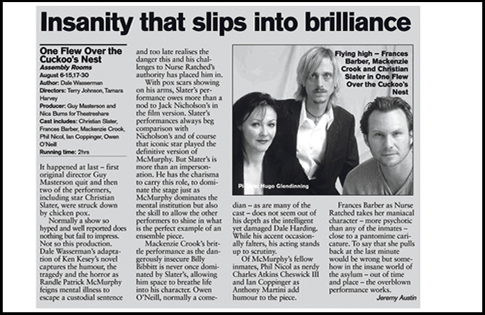 Detail from The Stage's Edinburgh reviews pages in 2004