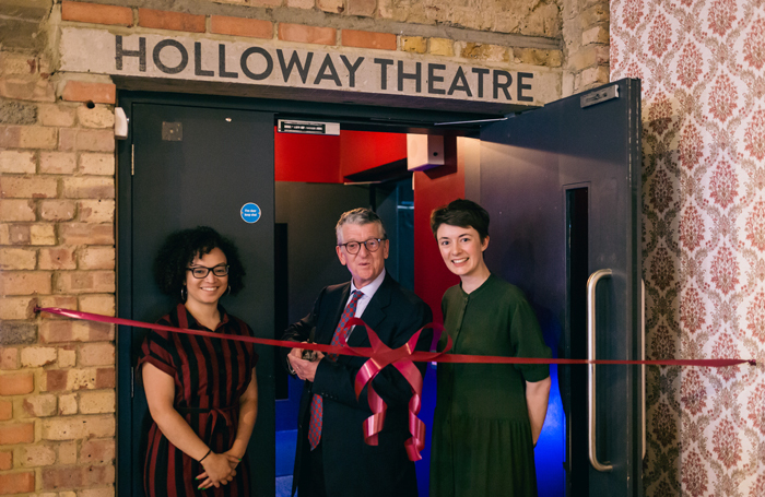 Bush Theatre artistic director Lynette Linton, Charles Holloway and executive director Lauren Clancy open the Holloway Theatre at the Bush. Photo: Hassan Joof