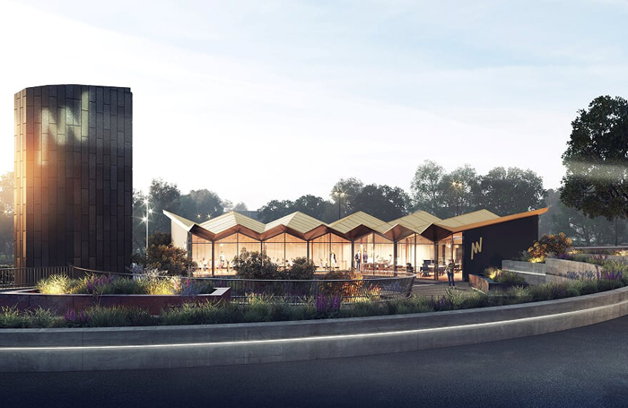 Artist's impression of the pavilion to be built alongside Ipswich's New Wolsey Theatre