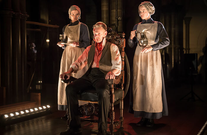 Bryony Tebbutt, Peter Collis and Robyn Holdaway in Macbeth at Temple Church, London. Photo: Scott Rylander