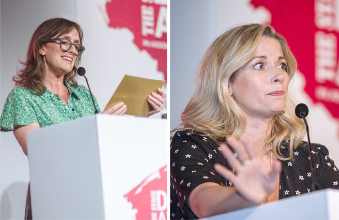 Jenna Russell (left) and Caroline Sheen at The Stage Debut Awards. Photos: David Monteith-Hodge