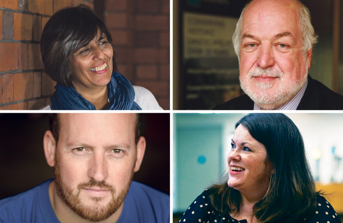 Clockwise from top left: NTW artistic director Kully Thiarai; NTW chair Clive Jones; Peggy Rose writer Katherine Chandler; playwright Alun Saunders